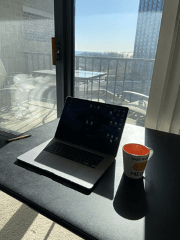 Laptop work from home with a view