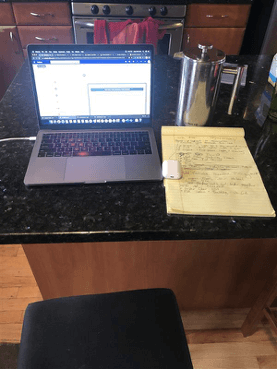 Remote work from home counter space